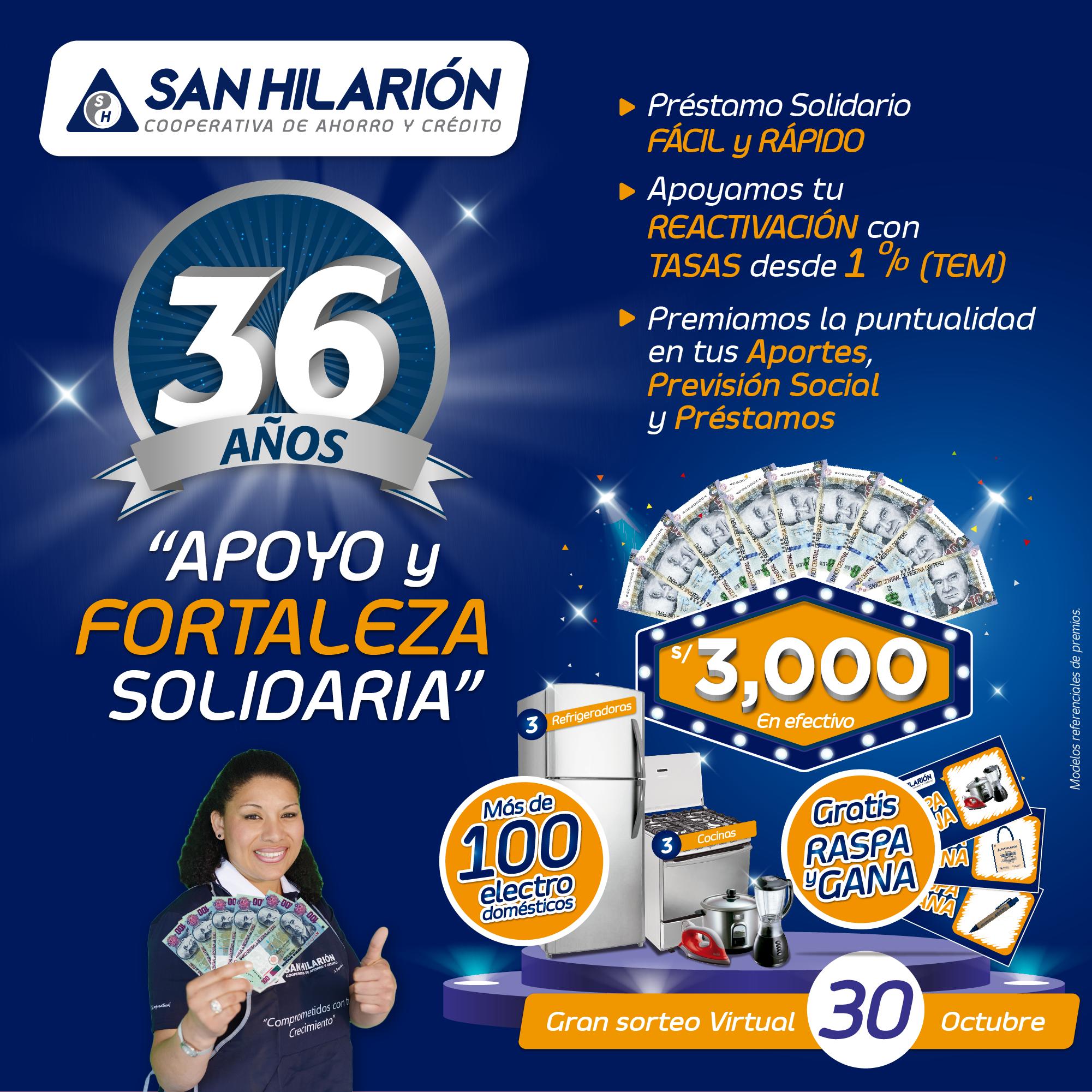 Campaña 36 Aniversario: préstamos solidarios y grandes premios para los emprendedores